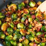 Sauteed Brussels Sprouts with Bacon Onions and Walnuts