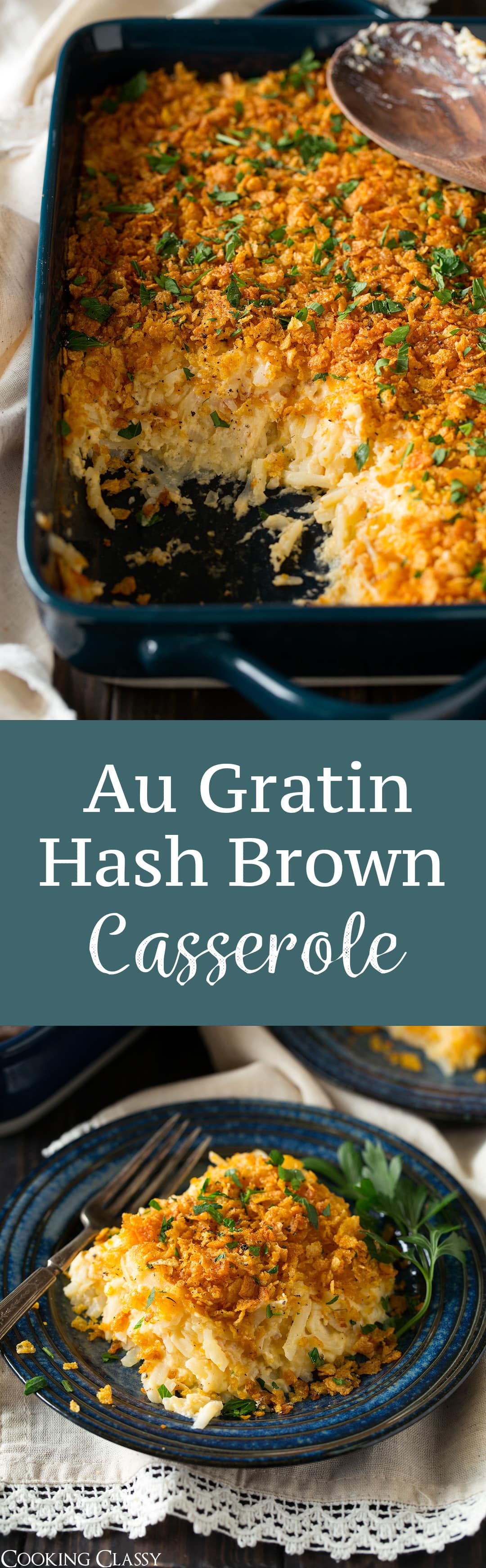 These Au Gratin Hash Brown Potatoes are the definition of comfort food! Like a loaded baked potato in casserole form! Perfect for parties and holidays.
