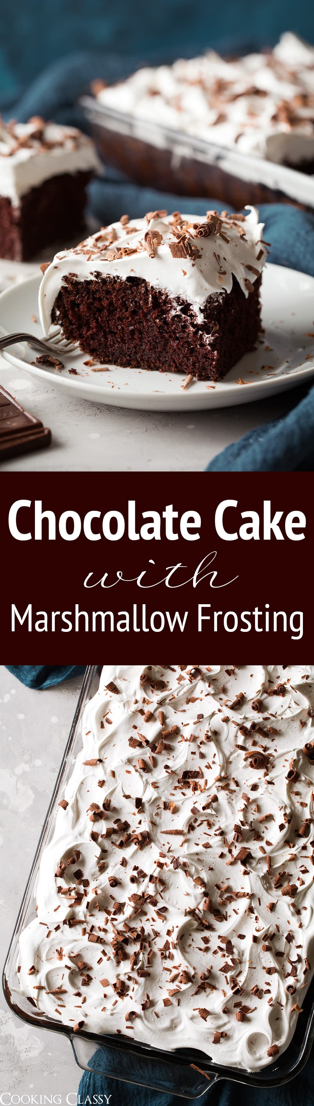 Chocolate Cake with Marshmallow Frosting - Rich and chocolatey cake topped with a light as air marshmallow frosting - that tastes like melted marshmallows! Such an irresistible cake and flavor combination! #chocolate #cake #dessert #christmas
