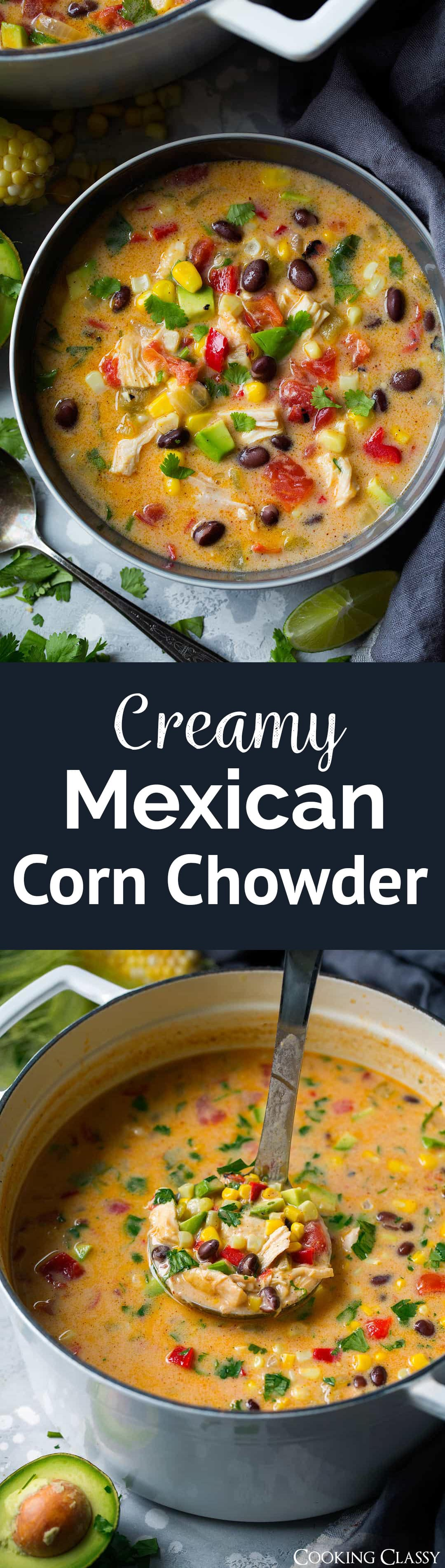 Creamy Mexican Corn Chowder - A creamy, cheesy, veggie and chicken filled soup that's layered with Mexican flavors and sure to satisfy! Uses frozen corn so it can be made year round. #soup #cornchowder #mexican #chicken #recipe