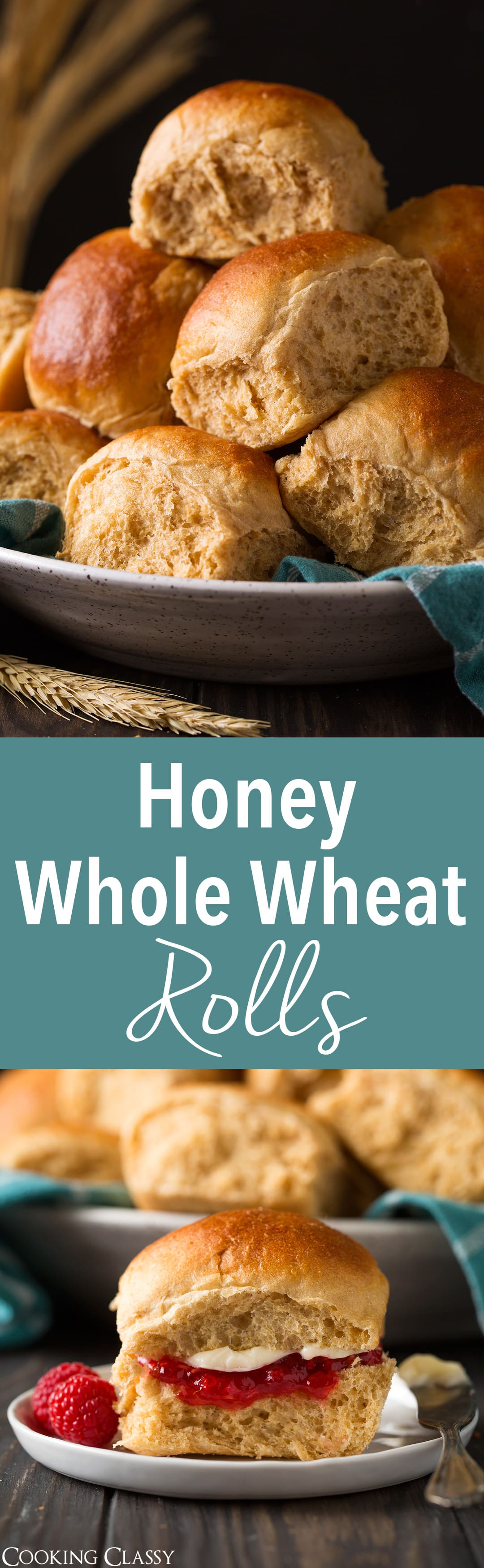 Honey Whole Wheat Rolls - Soft and fluffy rolls made from 100% whole wheat flour. Delicious with homemade freezer jam and a generous slathering of butter. #wheat #rolls #thanksgiving #recipe