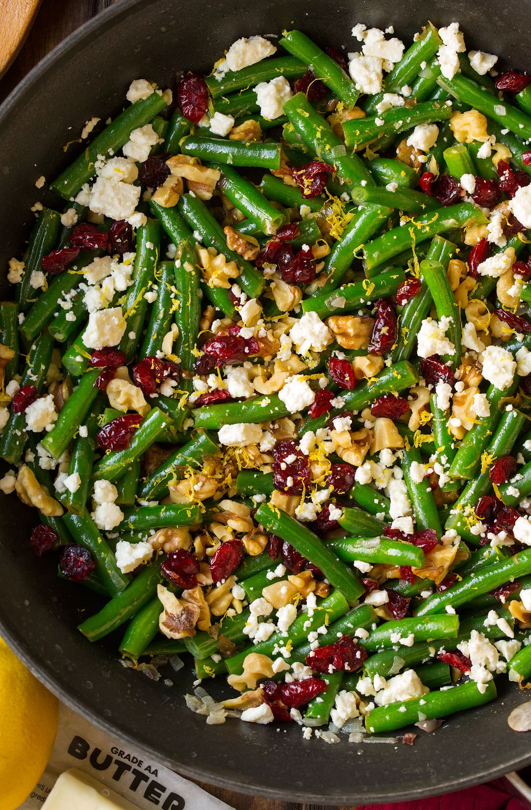 Green Beans with Lemon Cranberries Walnuts and Feta