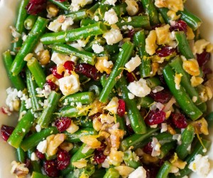Lemon Butter Green Beans with Cranberries Walnuts and Feta