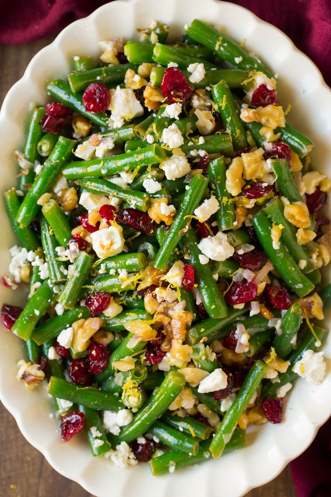 Green beans recipe with lemon butter cranberries walnuts and feta