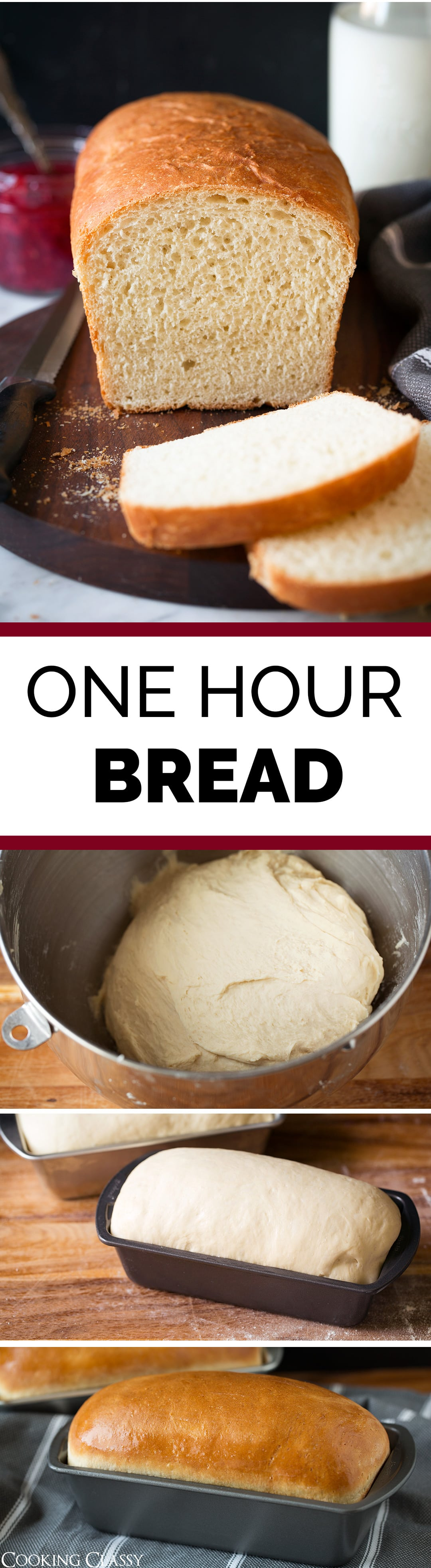 One Hour Bread - White bread recipe that's ready from start to finish in 1 hour! So easy, so fast and so delicious! Perfect for soup, sandwiches, and French toast! #onehour #easy #bread #recipe