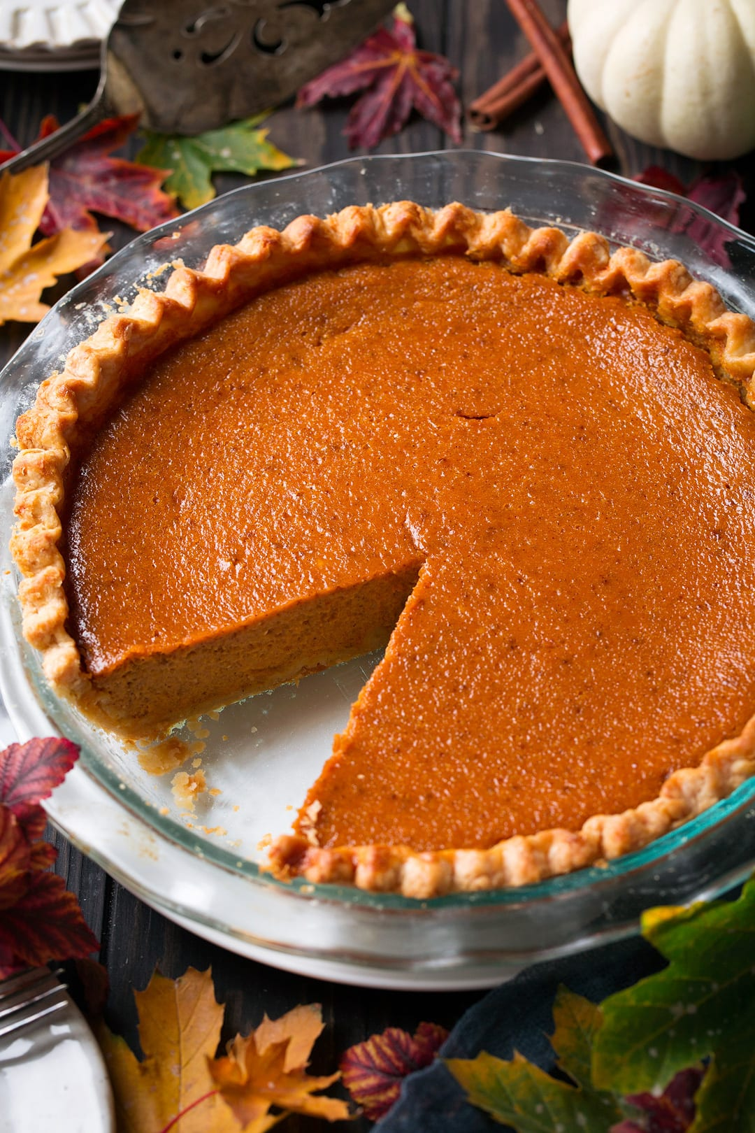 Pumpkin Pie with blind baked crust in a glass baking dish