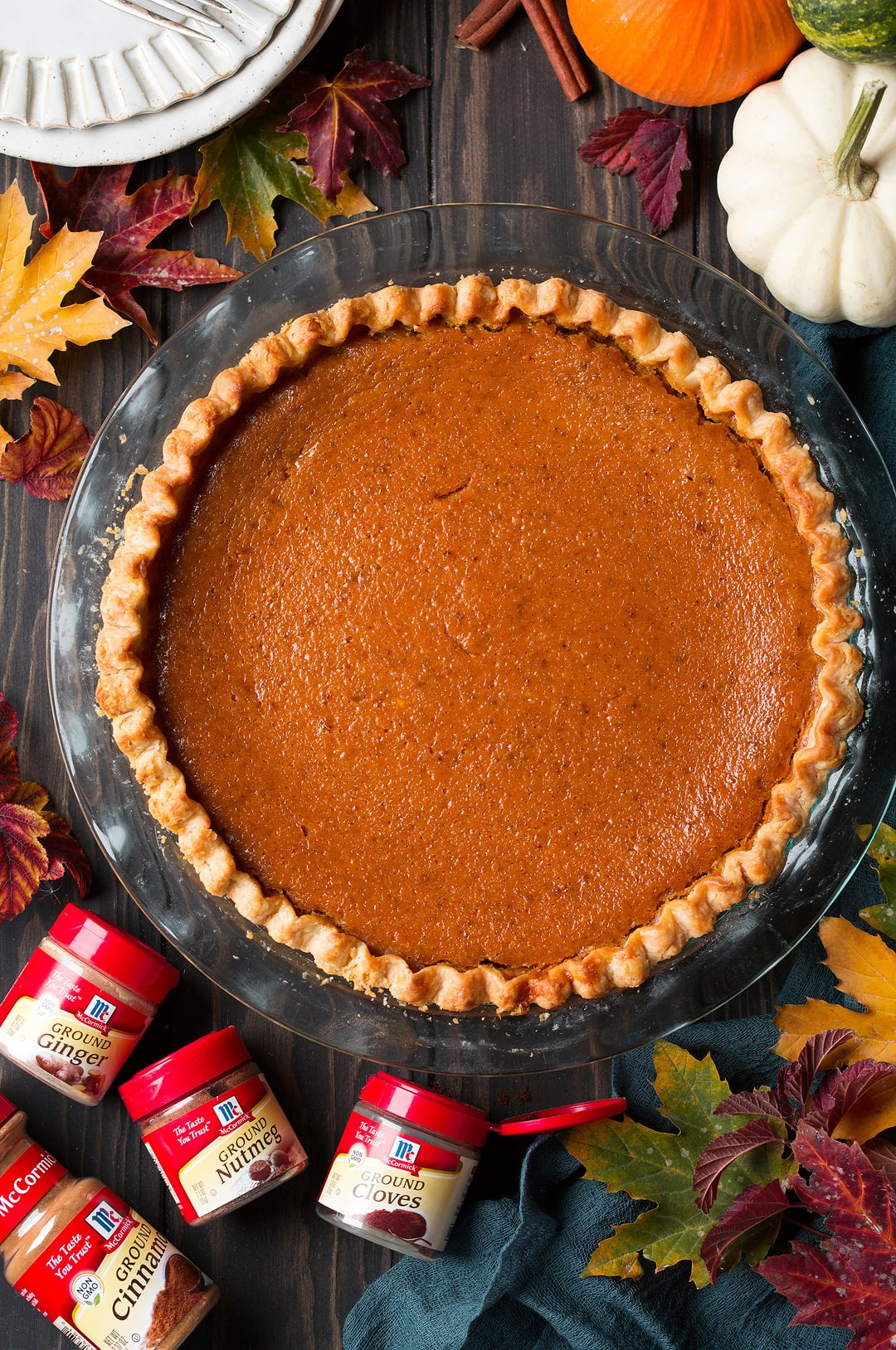 Pumpkin Pie shown here in a glass baking dish