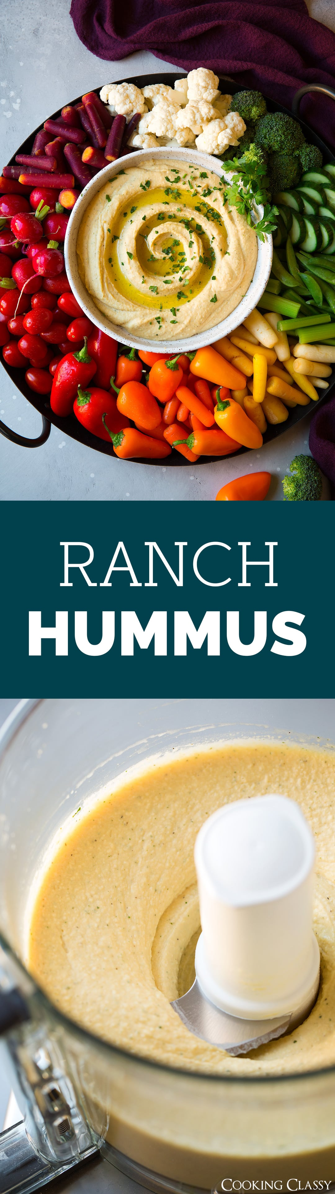 Ranch Hummus - flavorful, easy to make Ranch Hummus that's perfect for snacking and parties! Deliciously creamy with the just the right touch of that classic ranch taste. #ranch #hummus #dip #appetizer #partyfood