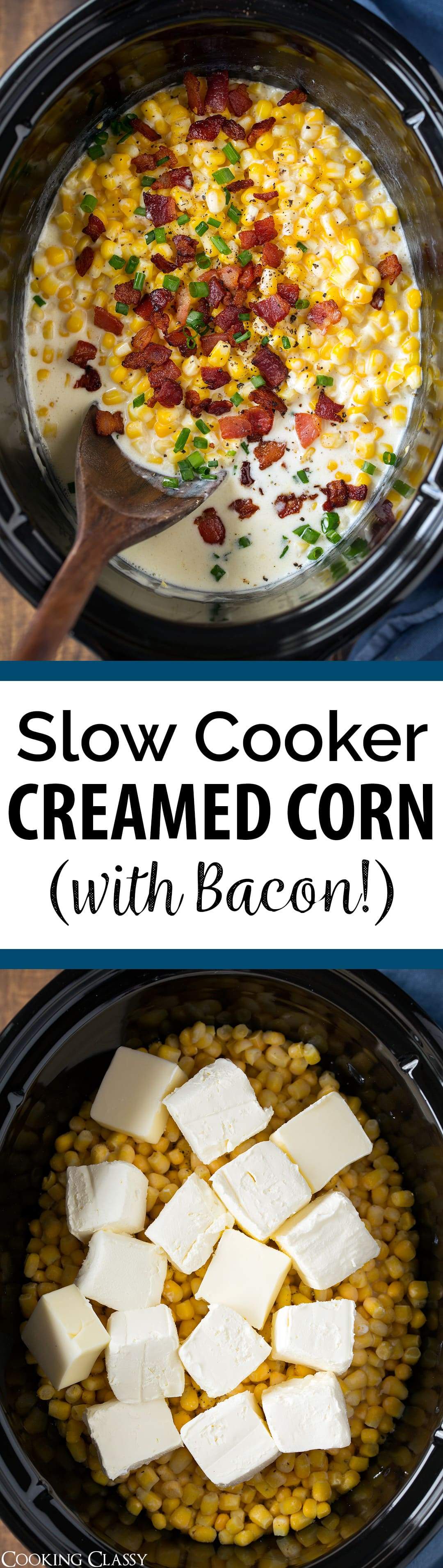 Slow Cooker Creamed Corn (with Bacon!) - The best creamed corn recipe! So easy to make and made extra delicious with bacon! A comforting side dish that's perfect for holidays.