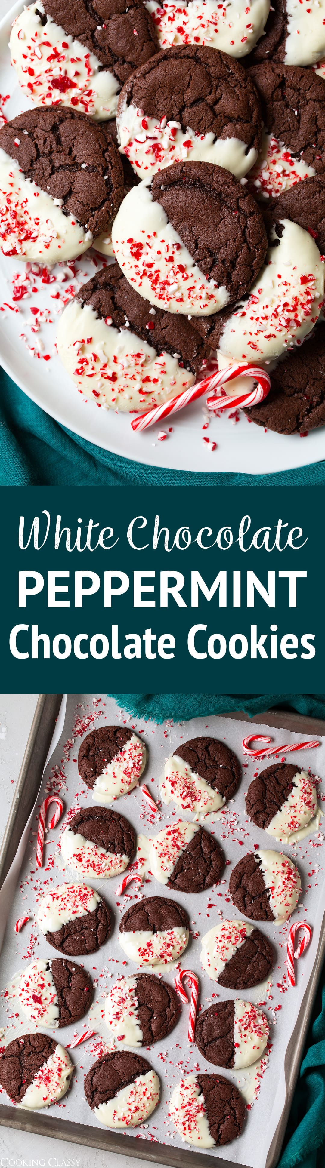 White Chocolate Dipped Peppermint Chocolate Cookies - such a delicious flavor combination! You get decadent chocolate cookies mixed with the real peppermint flavor, and they're finished with a layer of sweet and creamy white chocolate. So good that they'll likely become a new holiday tradition! #chocolate #cookies #christmascookies #dessert #christmas