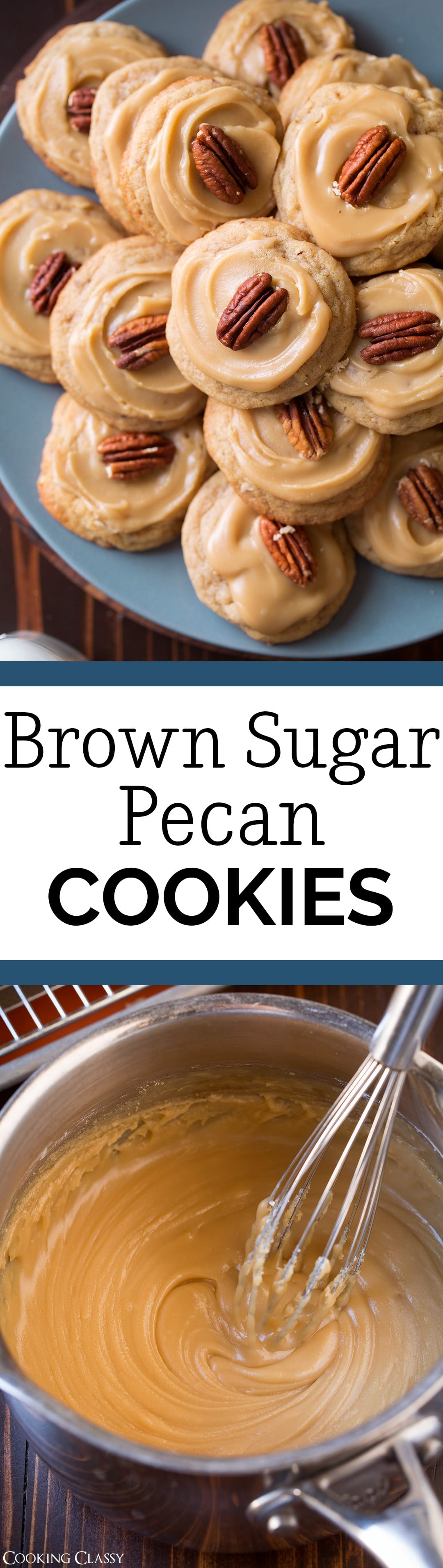 Brown Sugar Pecan Cookies - A chewy cookie brimming with toasted pecans and covered with a caramel or penuche-like frosting. Such a delicious holiday cookie! #christmascookies #dessert #recipe #christmas #pecancookies