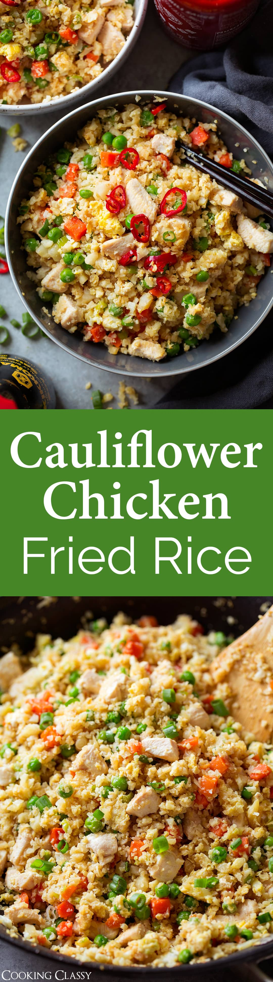 Cauliflower Chicken Fried Rice - This easy fried rice is jam packed with veggies and protein. It's seriously hearty and so delicious! A healthy one pan meal to start the new year with. #newyear #healthy #recipe #friedrice #cauliflowerrice
