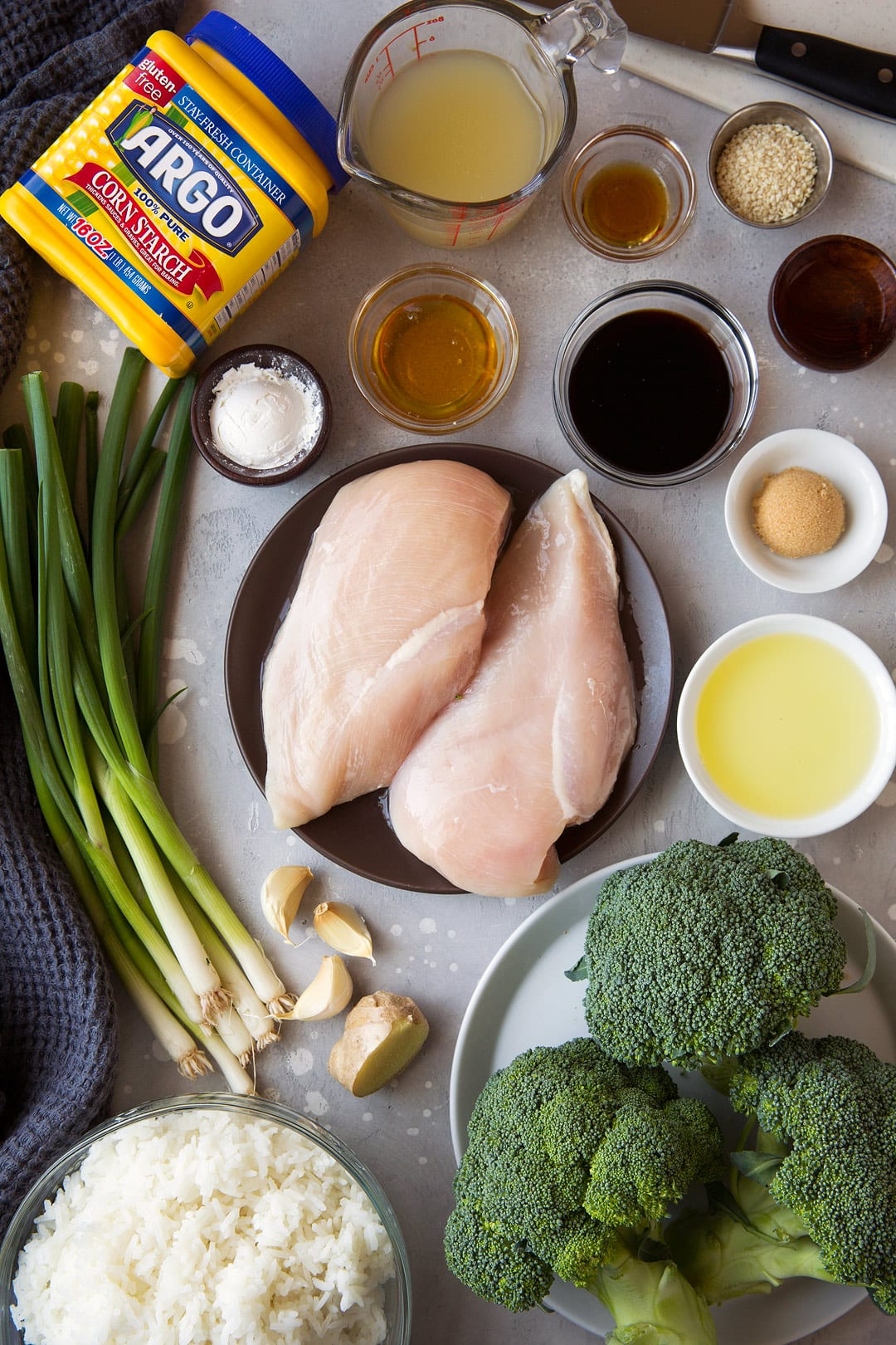 Chicken and Broccoli Stir Fry ingredients laid out on counter