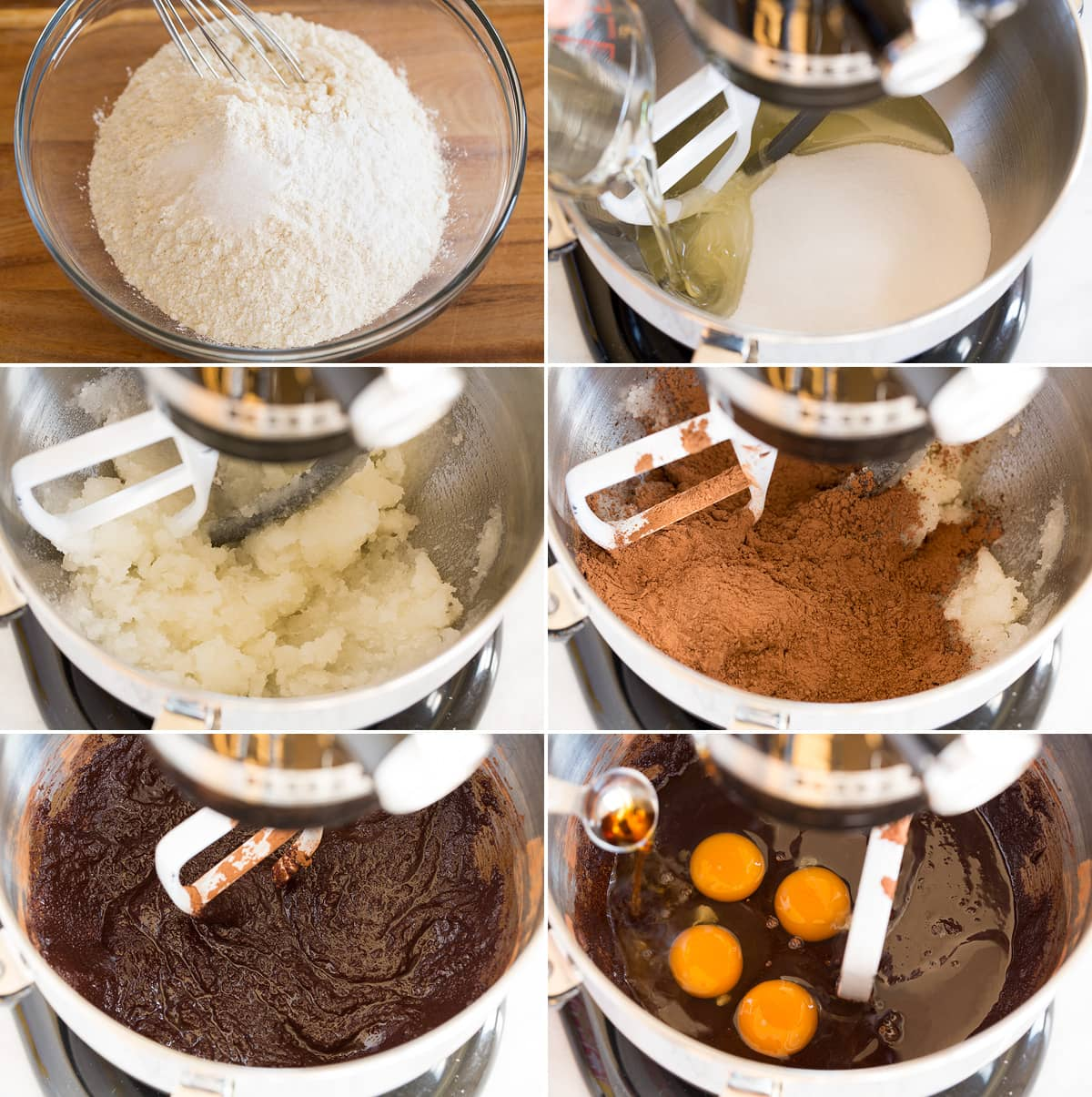 Collage of six images showing how to make chocolate crinkle cookies. First image is mixing dry ingredients in mixing bowl. Next shows mixing oil and sugar in stand mixer and shows it blended after. Then shows cocoa before and after mixing in. And last adding in eggs.