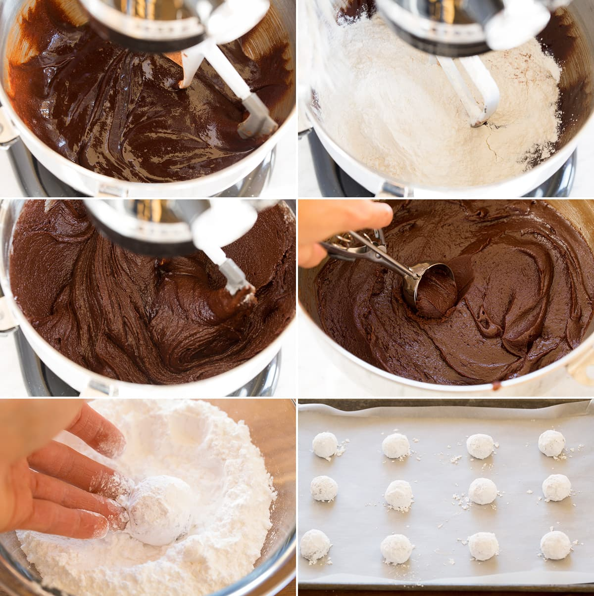 Collage of six images showing steps to finishing crinkle cookie dough by mixing in flour. Then shows scooping it out with a cookies scoop after dough is chilled and more solid. Then image shows rolling in powdered sugar and last includes dough balls on baking sheet.