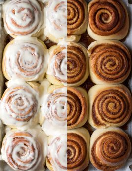 Cinnamon rolls shown before and after frosting on each half of the image.