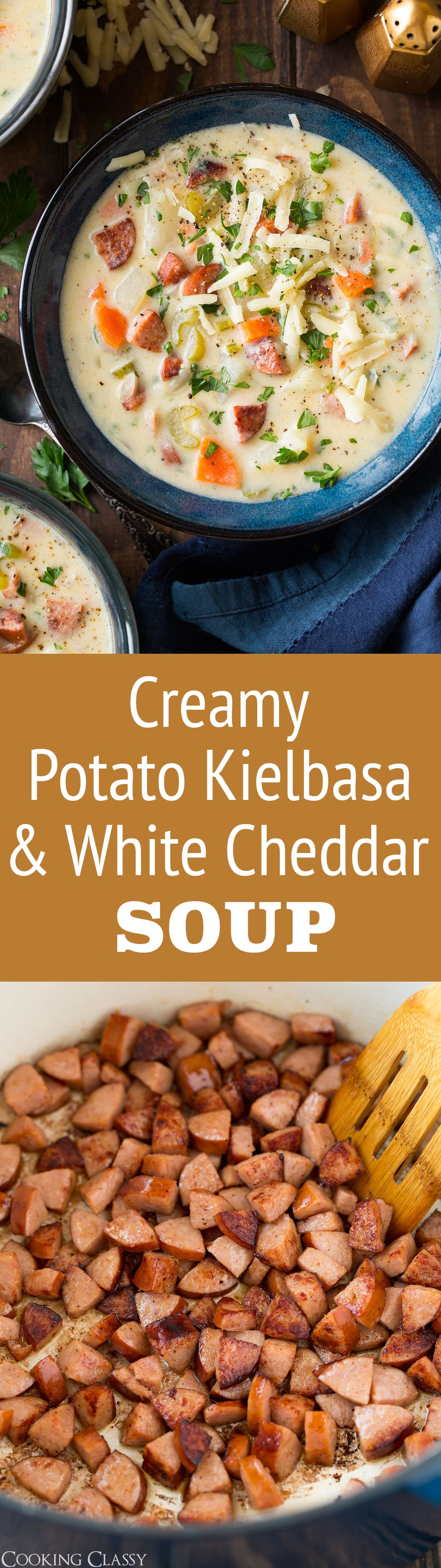 Creamy Potato Kielbasa and White Cheddar Soup - An incredibly filling and perfectly comforting soup for a chilly day! It has a delicious flavor blend of sausage, white cheddar and potatoes and chances are the whole family will love it! #soup #sausage #potatosoup #dinner #comfortfood