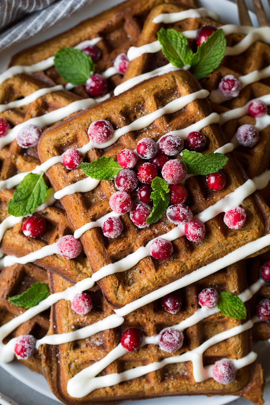 Gingerbread Waffles close up shot