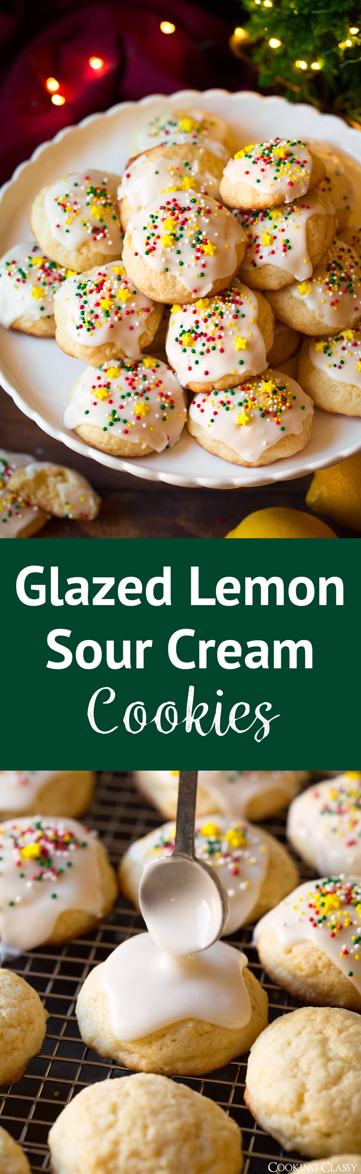 Glazed Lemon Sour Cream Cookies - A melt-in-your-mouth, flavorful, super soft cookie that's topped with a sweet and simple lemon cream cheese glaze. Easy to make and even easier to eat and fall in love! #christmascookies #lemoncookies #dessert #recipe #cookies