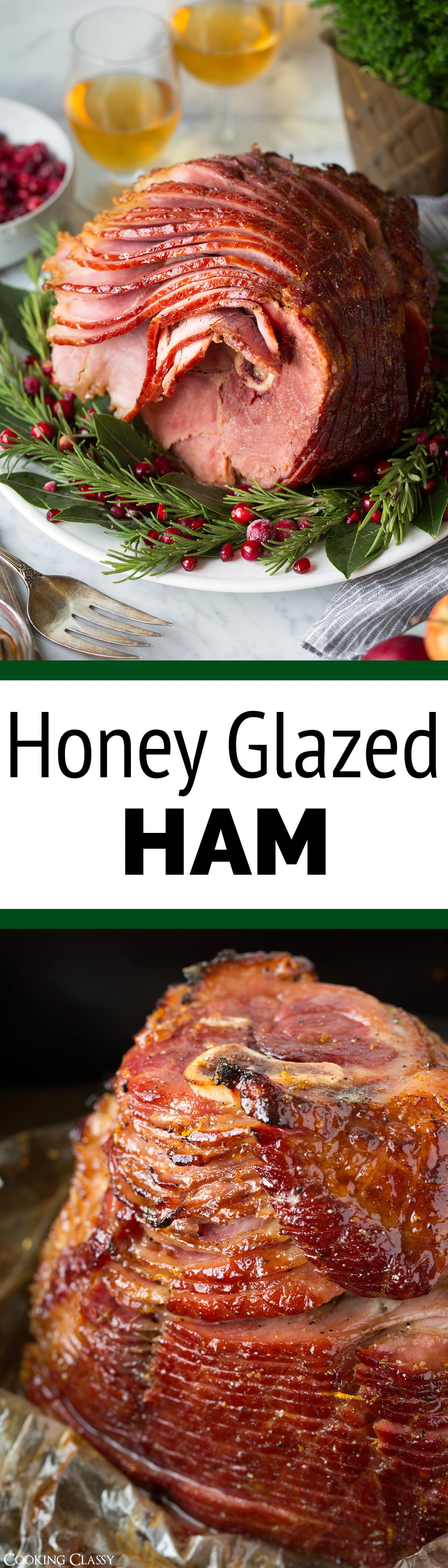 An amazingly delicious holiday ham! Baked in an oven bag and cooked at a low temperature so you don't end up with dry slices. And that sweet honey glaze is the perfect finish to the salty hickory smoked ham. #honeyglazedham #ham #christmas #easter #thanksgiving #recipe