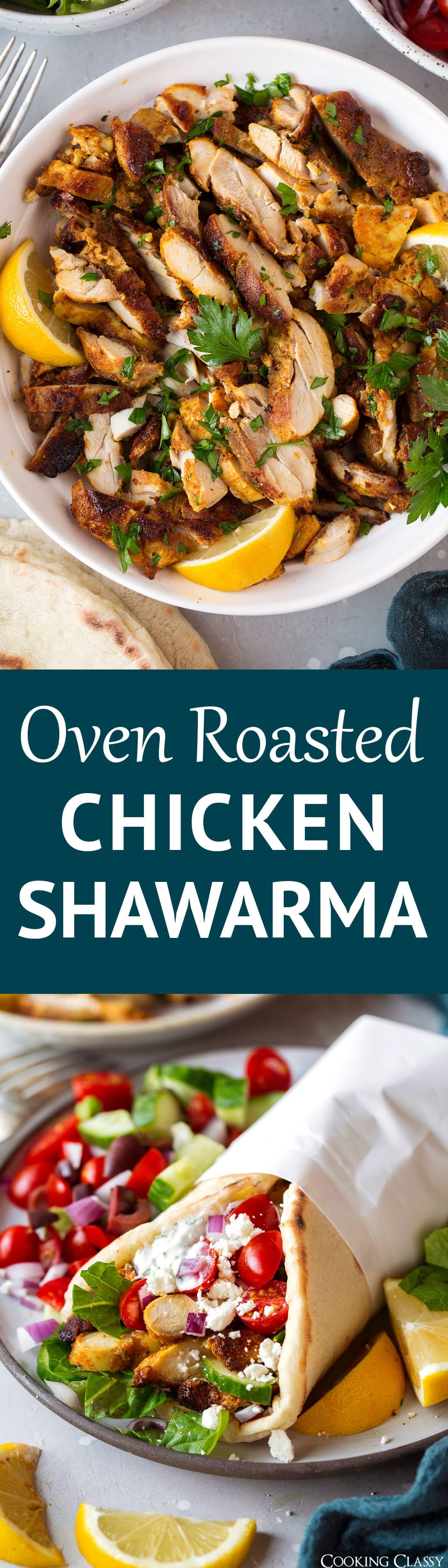 Oven Roasted Chicken Shawarma - it's is all of my dinner dreams come true! This Middle Eastern inspired chicken is boasting with a delicious blend of spices, it's perfectly golden brown with a tender interior and crisp edges and it's so easy to make. #chicken #recipe #healthyrecipe #chickenshawarma
