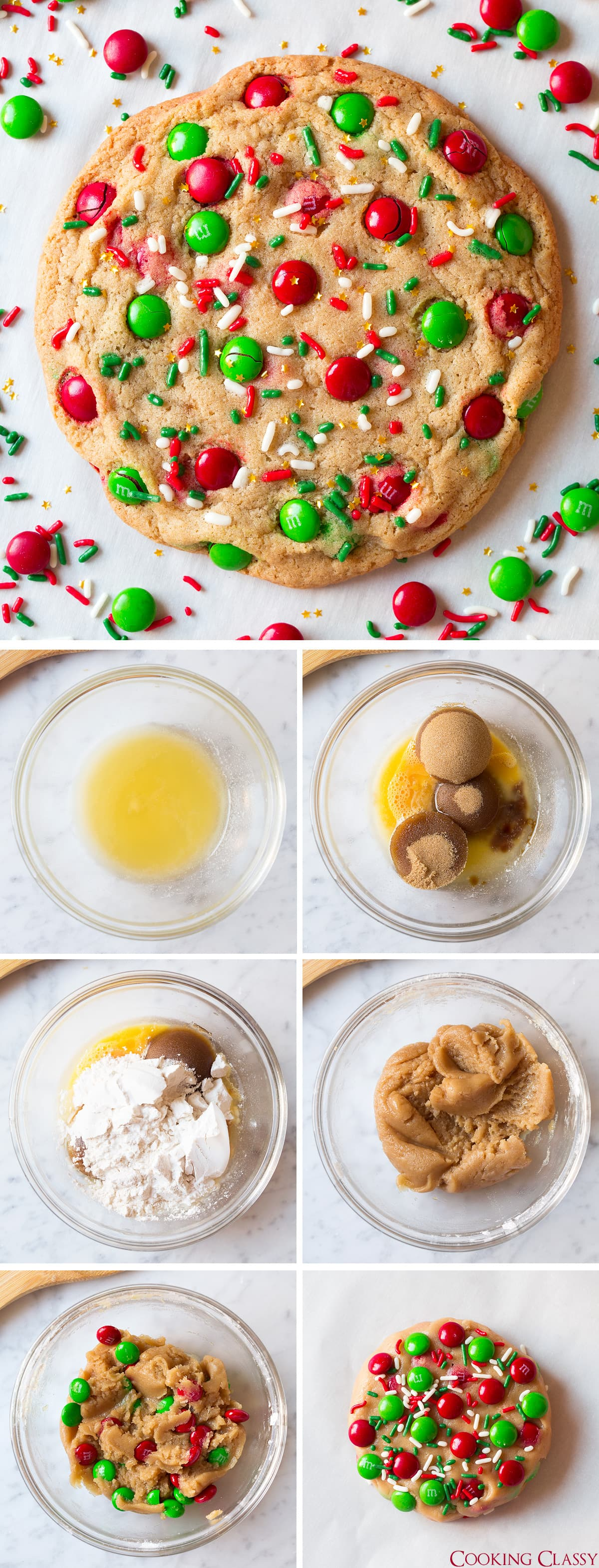 Collage image of how to make one chocolate chip cookie