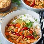 Slow Cooker Thai Chicken Curry in a white bowl