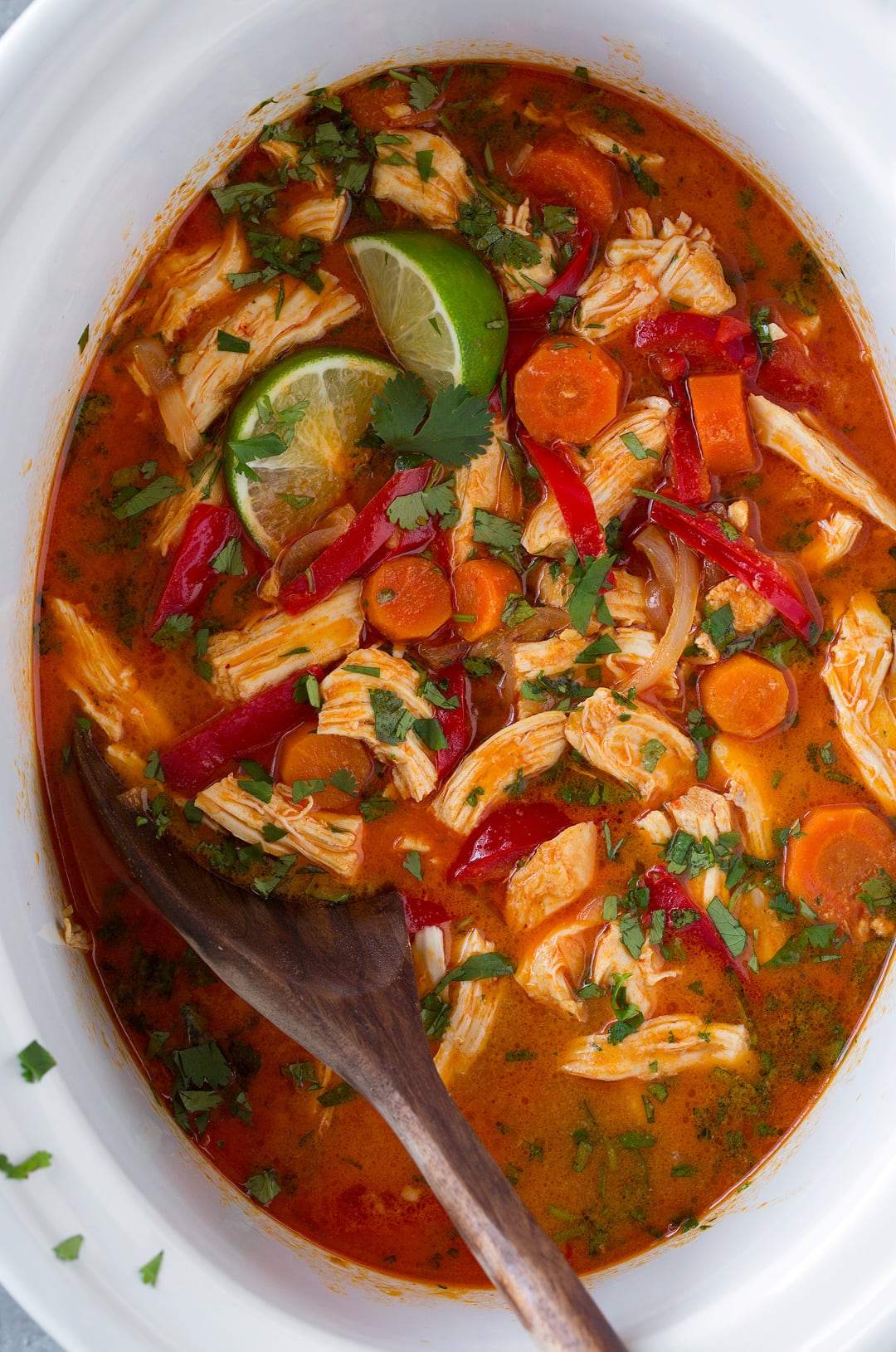 An overhead shot of Slow Cooker Thai Chicken Curry in a slow cooker