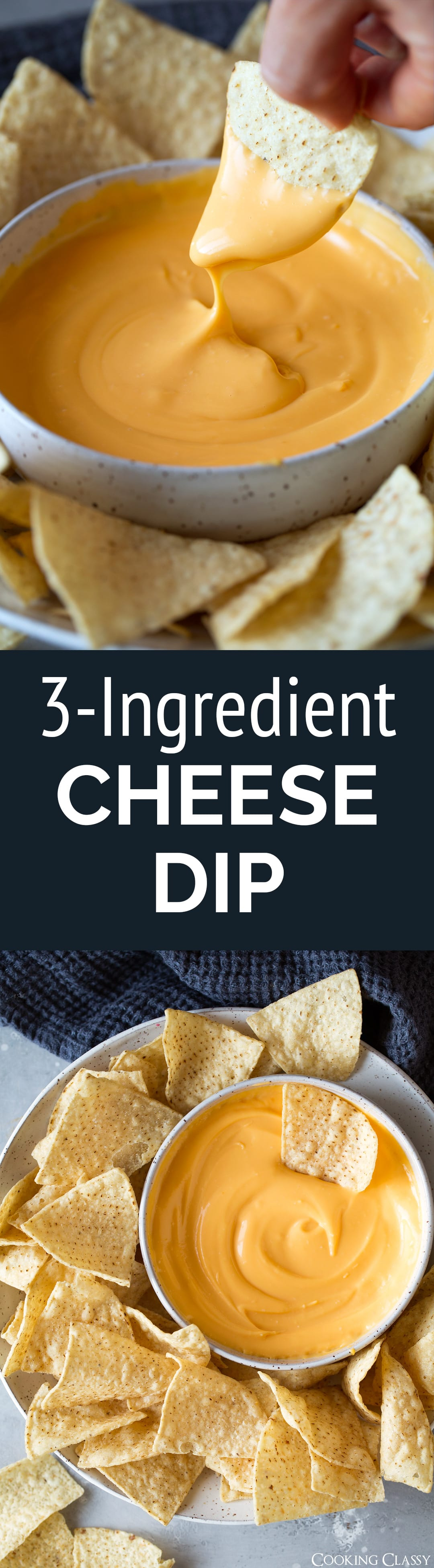 3 Ingredient Cheese Dip - A super easy, totally delicious cheddar cheese dip made with real ingredients! Perfect for parties or game day. #cheesedip #nachocheesedip #queso #easyrecipe