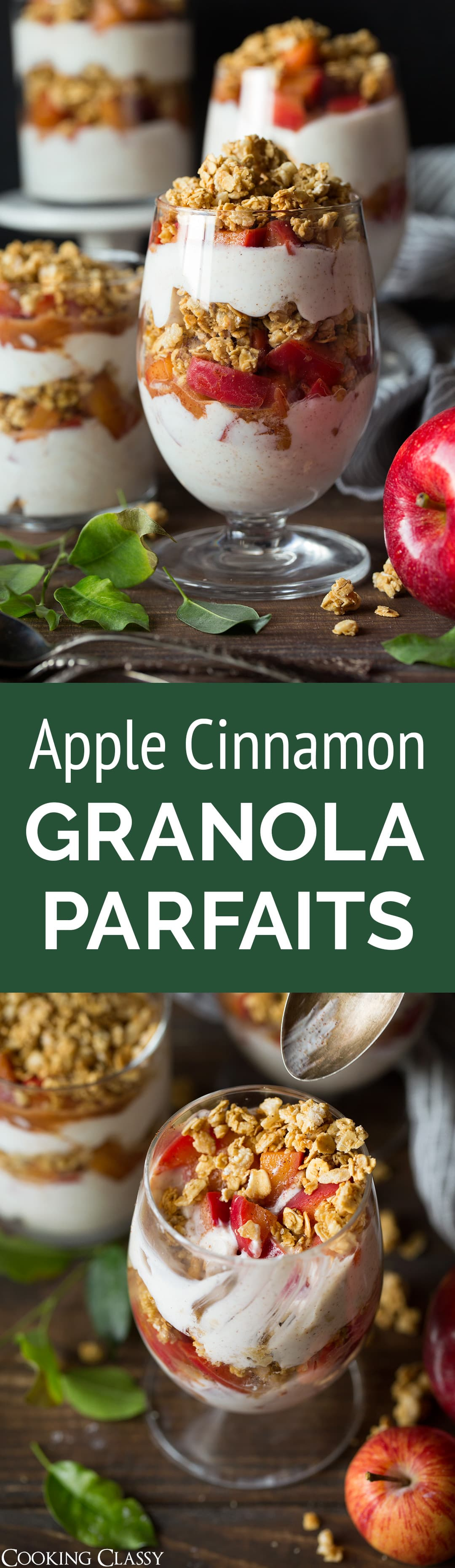 Apple Cinnamon Granola Parfaits - These parfaits make the perfect breakfast treat! They are made up of three delicious layers, a tangy Greek yogurt layer, a perfectly spiced and softened apple layer, and a crunchy honey granola layer. Try them and you'll know why I made them twice in one week! #apple #granolaparfait #yogurtparfait #breakfast #healthyrecipe #applepie