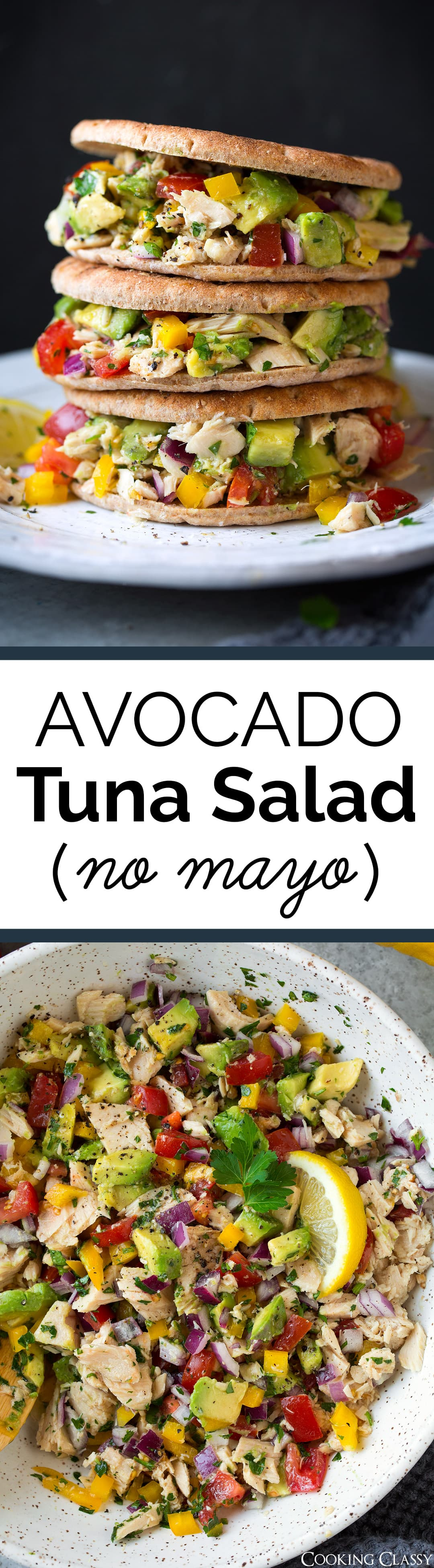 Avocado Tuna Salad - A delicious mayo-free tuna salad made with olive oil. Full of bright flavors, a pretty variety of colors, and a nice blend of textures. Perfect for lunch or a lazy dinner. #avocado #tunasalad #lunch #sandwich #recipe