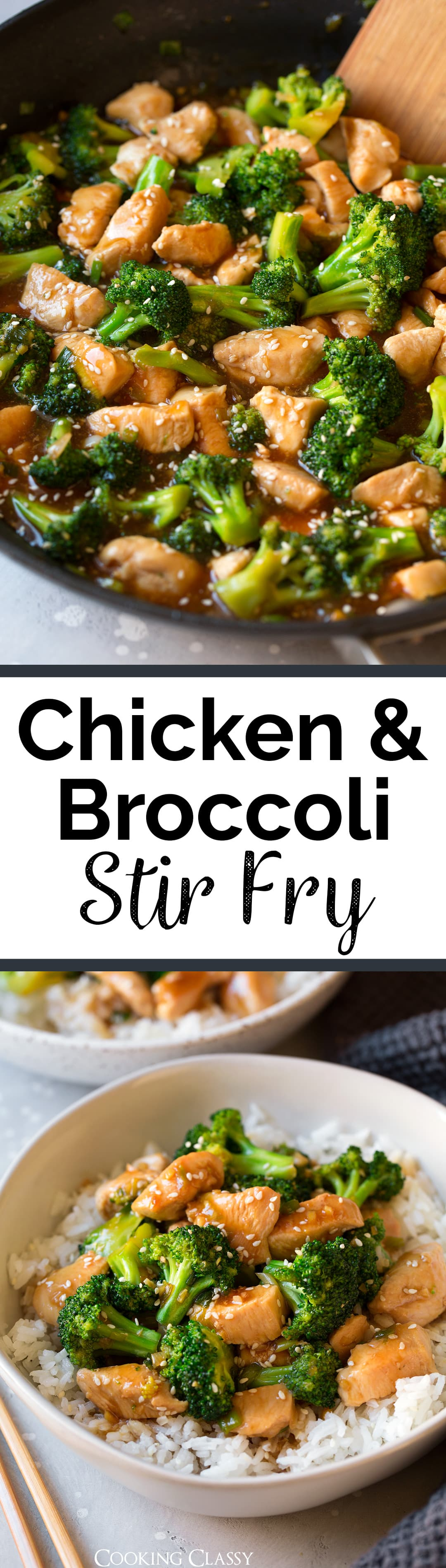 Chicken and Broccoli Stir Fry - Pan seared chicken and sautéed broccoli are covered in a sweet and salty teriyaki style sauce that will leave you wanting more! It's such an easy and flavorful recipe that's perfect for those hectic weekdays, plus it's sure to satisfy those Chinese take-out cravings.