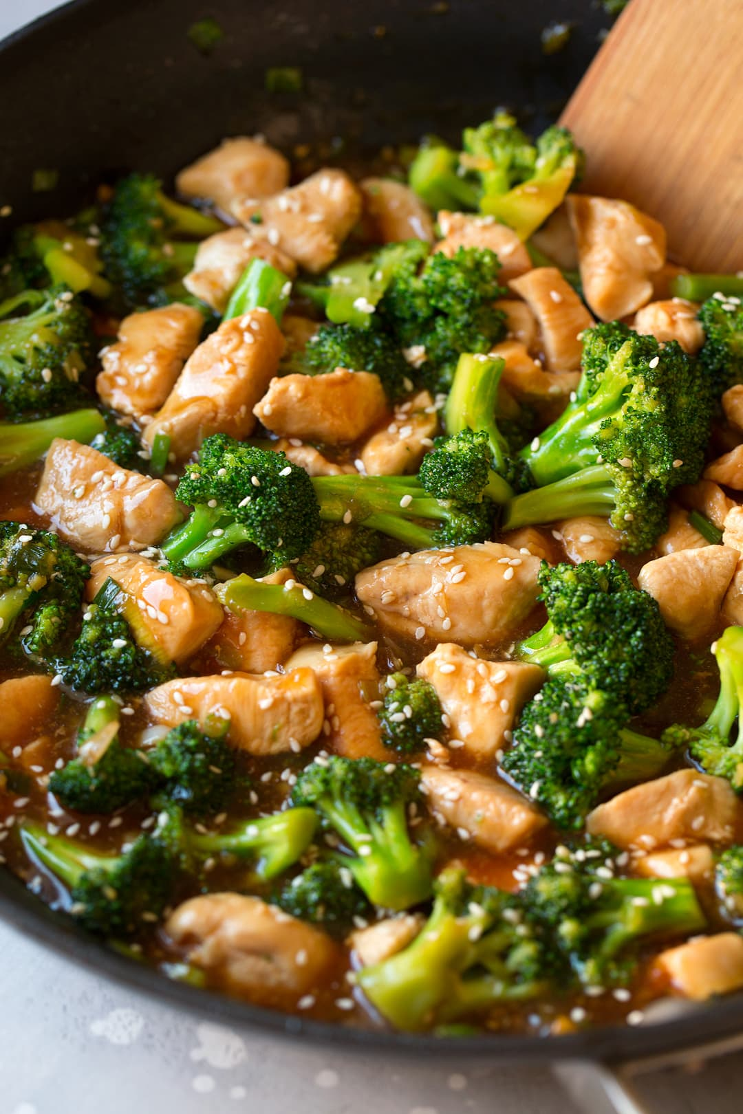 close up of chinese Chicken and Broccoli Stir Fry in skillet