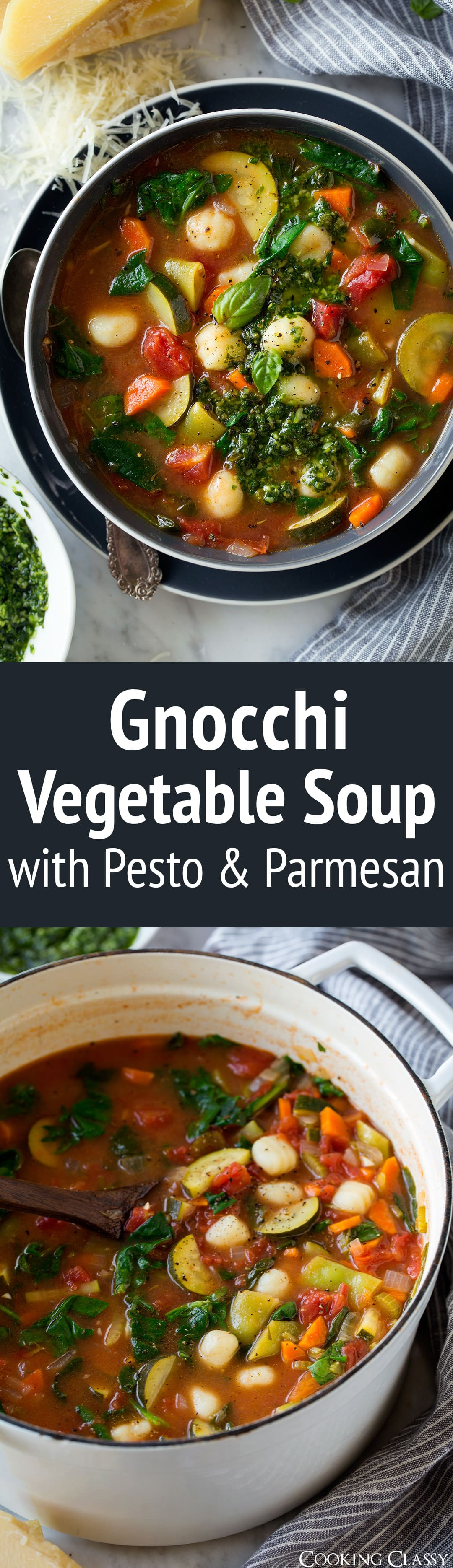 Gnocchi Vegetable Soup with Pesto and Parmesan - A hearty minestrone style soup with an upgrade of gnocchi and homemade pesto, in other words it's perfectly delicious! Just what you need on a cold winter day - or even a warm summer day when you have an abundance of fresh summer produce to use up. #soup #gnocchi #parmesan #vegetablesoup #dinner #healthyrecipe