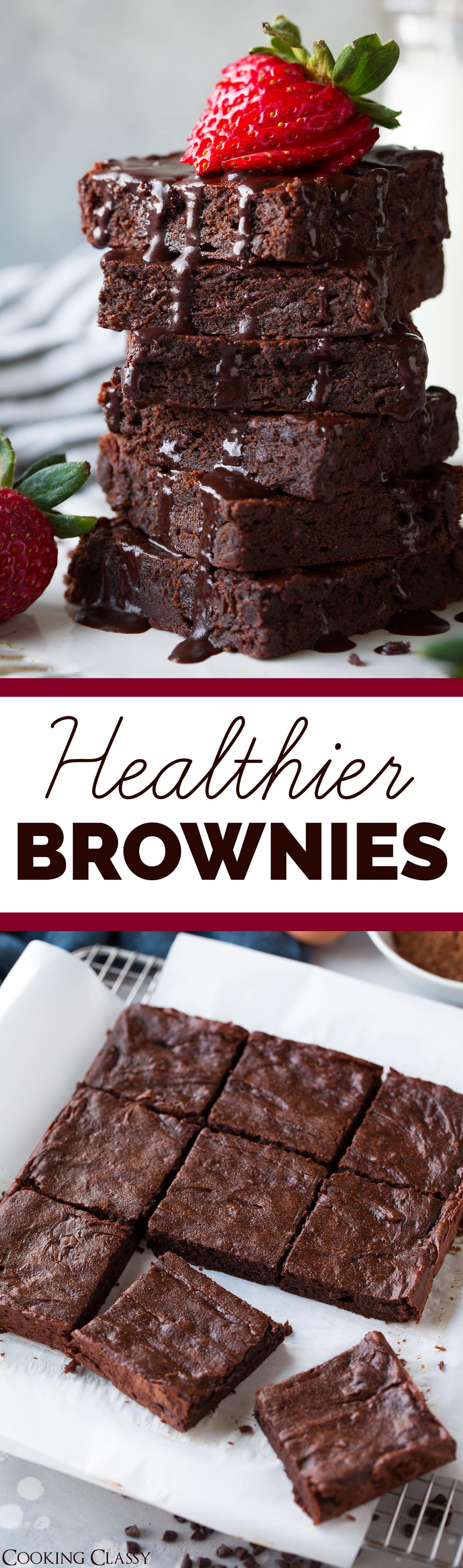 Healthier Brownies - SO GOOD! Made healthier without white flour, butter and refined sugar. Still perfectly decadent and deliciously satisfying. Sure to curb those chocolatey cravings! #brownies #dessert #healthierdessert #chocolate #valentines