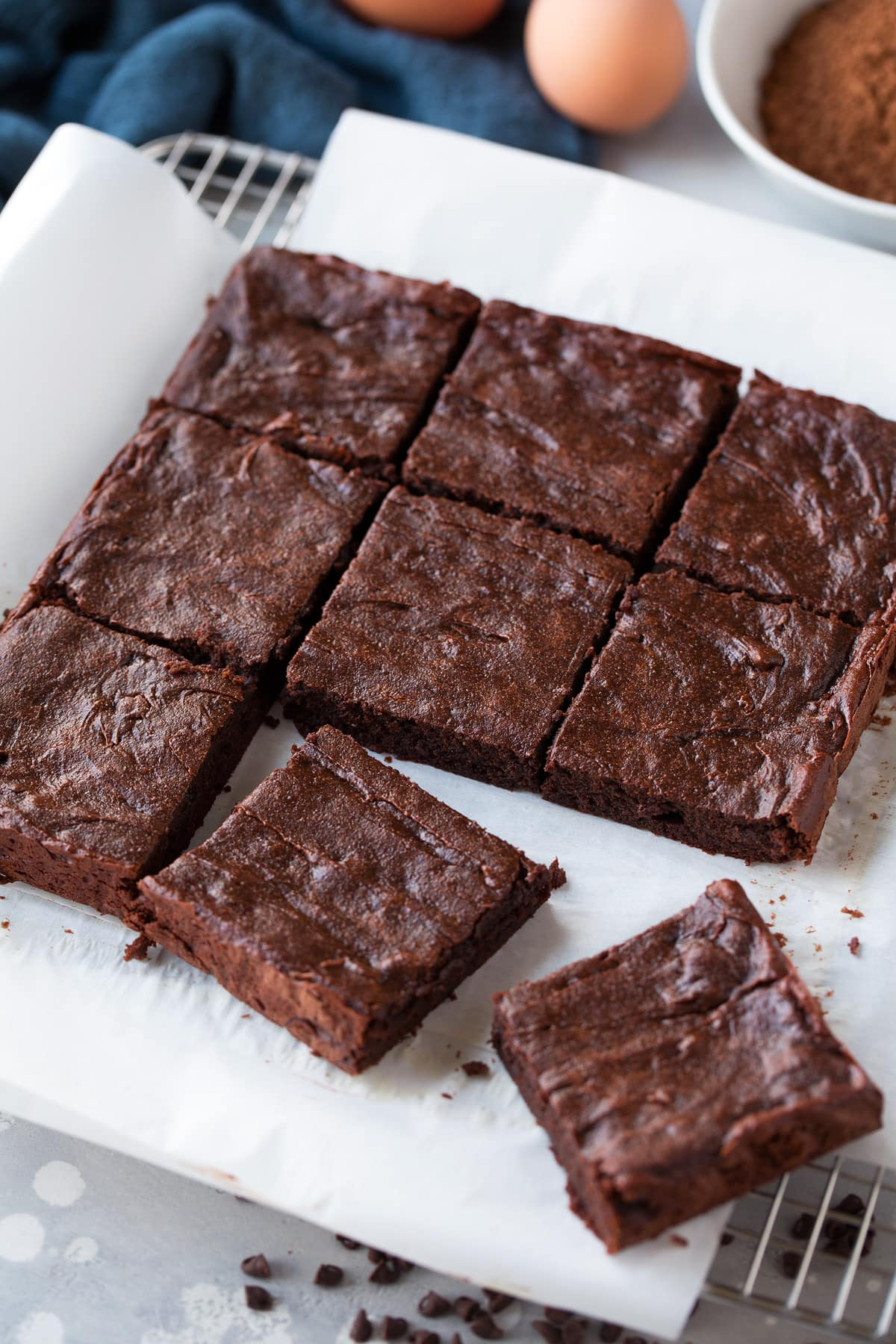 healthy brownies sliced into squares