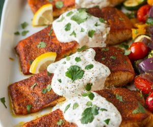 Moroccan Spiced Salmon with Lemon Yogurt Sauce