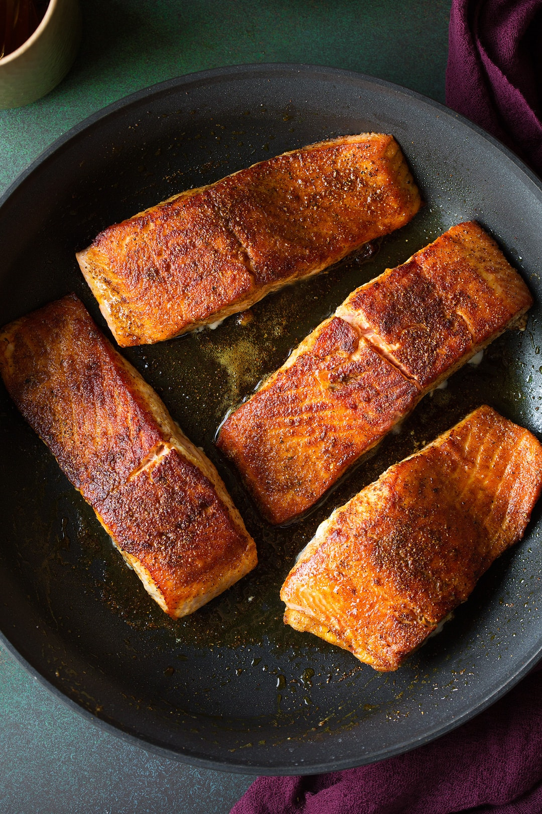 Pan seared salmon seasoned with moroccan spices