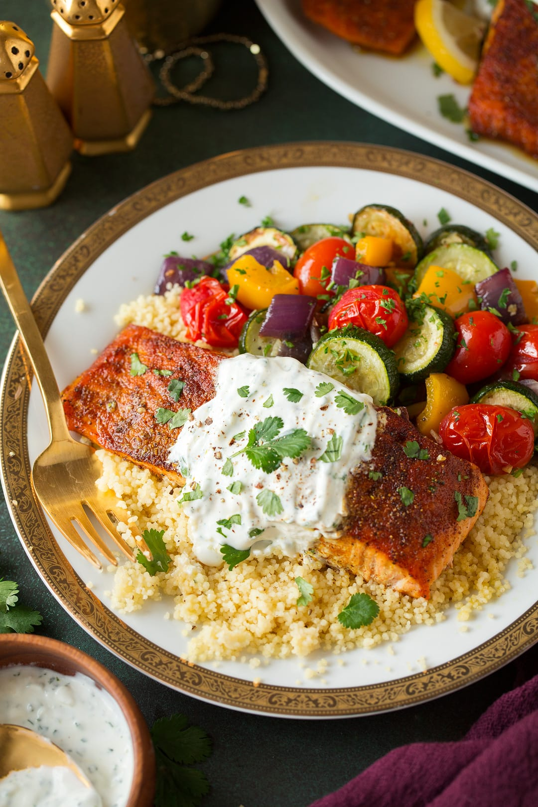Moroccan Spiced Salmon with Lemon Yogurt Sauce