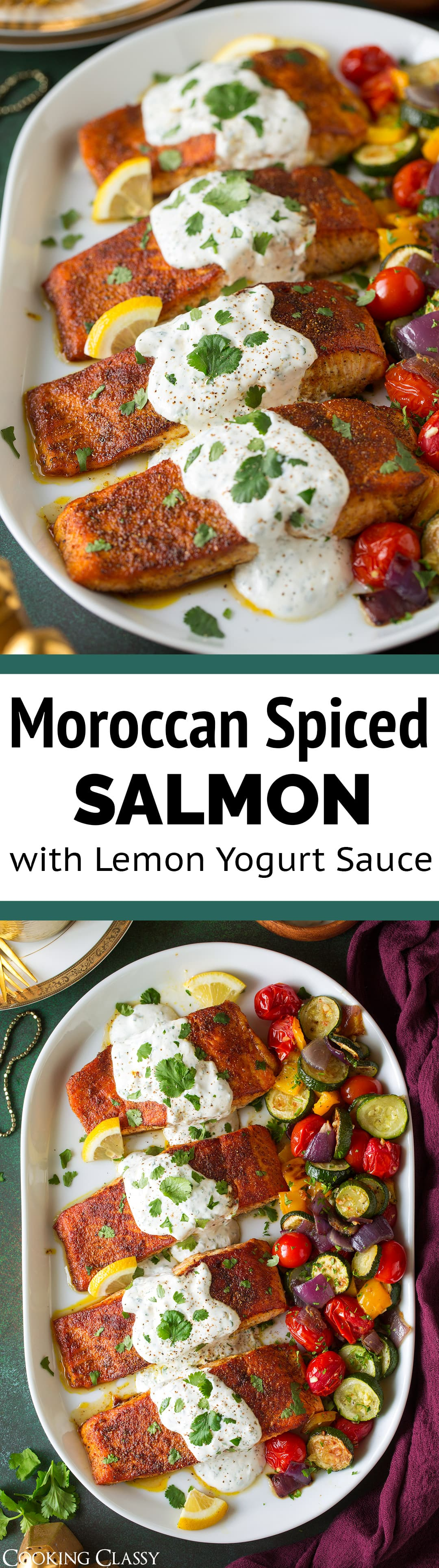 Moroccan Spiced Salmon with Creamy Lemon Yogurt Sauce - skinless salmon fillets are generously coated with a fragrant Moroccan spice blend then pan seared to perfection, then they are covered with a bright and creamy lemon and cilantro sauce. Serve with roasted veggies and couscous for a perfect meal! #moroccan #salmon #yogurtsauce #healthyrecipe #easydinner