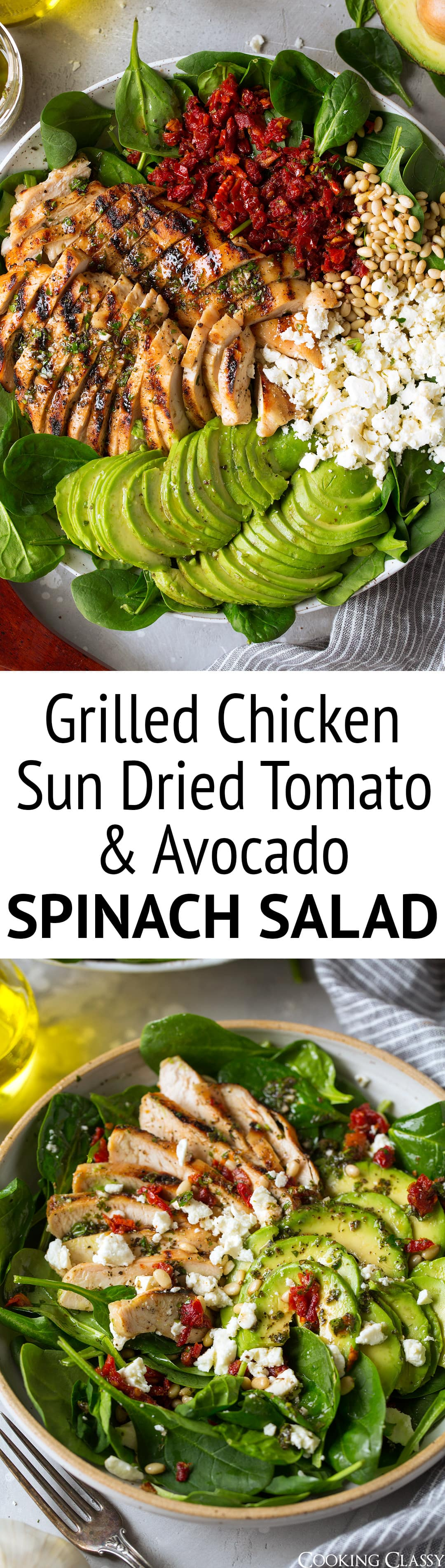 Grilled Chicken Sun Dried Tomato and Avocado Spinach Salad - This is such a flavorful and satisfying salad! It's layered with so much goodness and the way the flavors compliment each other here is spot on delicious! A recipe you'll want to use again and again. #salad #chickensalad #chicken #sundriedtomato #avocado #spinchsalad #dinner #recipe #healthy
