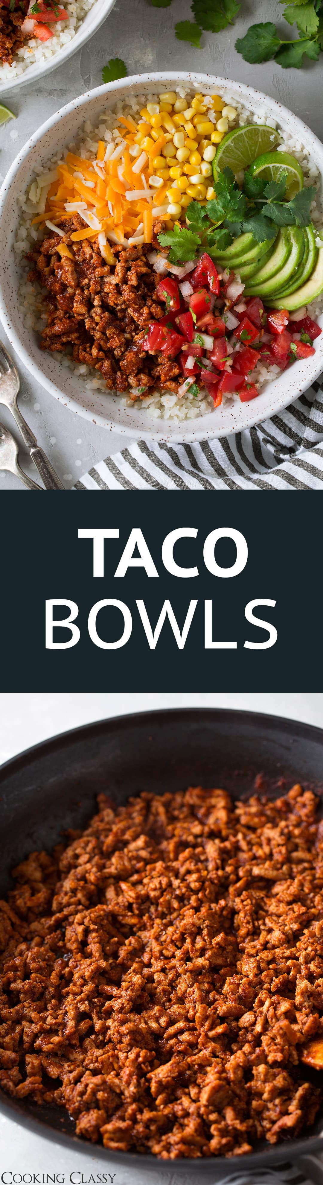 Taco Bowls - a new favorite weeknight dinner! Seriously delicious, so healthy, perfectly filling and packed with flavor. The whole family loves these! #tacos #tacobowl #turkeytacos #healthydinner #recipe #mealprep