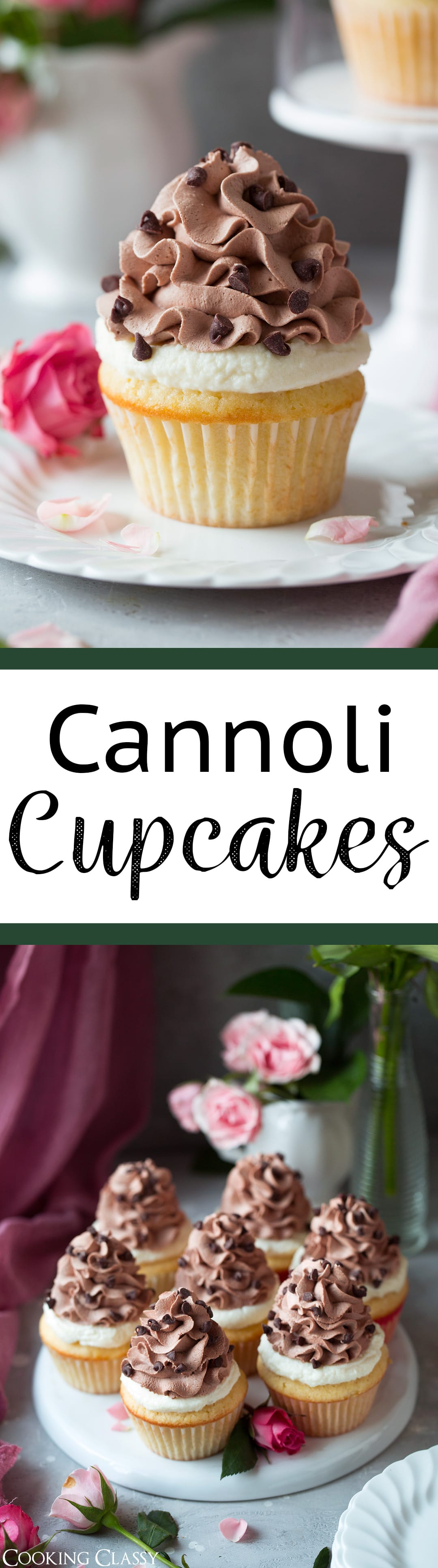 Cannoli Cupcakes - These are incredibly dreamy cupcakes! You get a soft and fluffy vanilla buttermilk cupcake topped with a rich cannoli filling and it's finished with a silky smooth chocolate whipped cream. Perfect for any celebration, or just to bake up for fun because life needs cupcakes sometimes. #cupcakes #cake #cannoli #cannolicupcakes #dessert #birthday #valentines