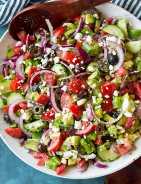 Close up of a Greek Salad in a bowl
