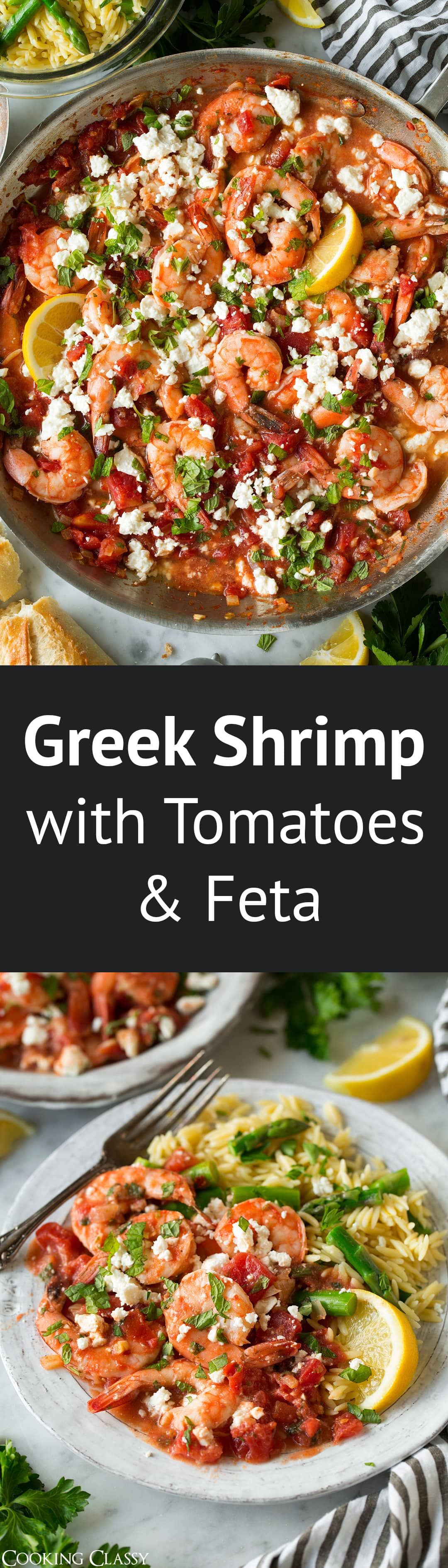 Greek Shrimp with Tomatoes and Feta - A perfectly easy and satisfying shrimp dish that has such a delicious combination of Mediterranean flavors. Easy enough for a weeknight dinner yet tasty enough to serve to guests on the weekend. #shrimp #greekshrimp #easydinner #recipe