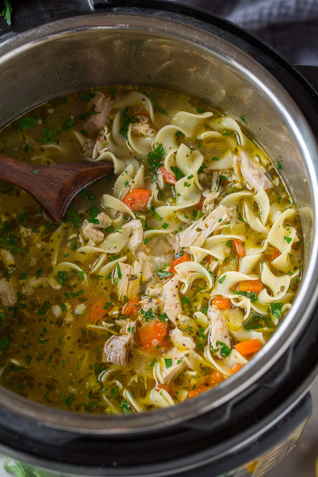 Chicken Noodle Soup shown here in an Instant Pot