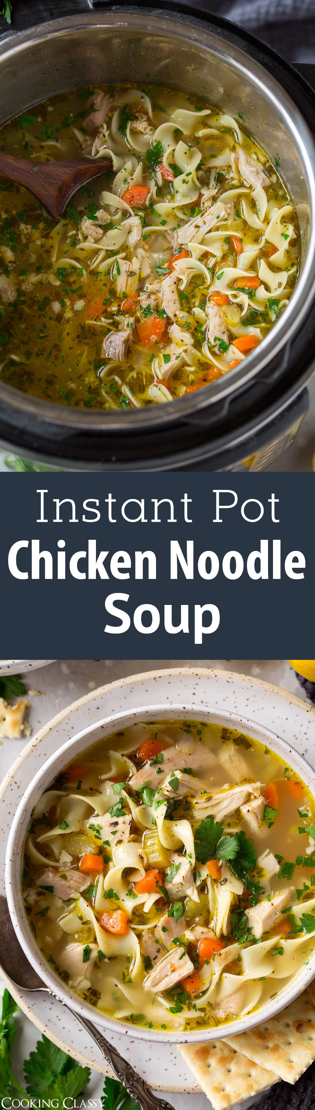 Instant Pot Chicken Noodle Soup - This is likely to become your new go-to chicken noodle soup! So easy to make yet the end result tastes amazing! It's a homestyle chicken noodle soup everyone will love, and you'll love how the instant pot does almost all of the work. #instantpot #chickennoodlesoup #dinner #comfortfood #soup #recipe