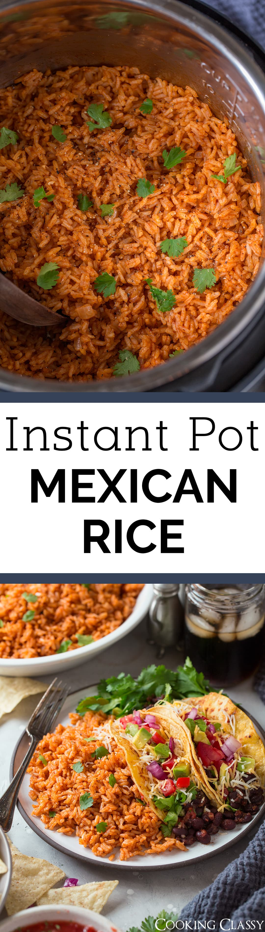 Instant Pot Mexican Rice - this will likely become a new go-to side dish to your favorite Mexican food! It's easy to make and cooks quickly in the pressure cooker, plus it has that delicious, authentic tomato based flavor. I've already made this four times and I plan to make it many more, my family loves it! #mexicanrice #rice #sidedish #instantpot #recipe