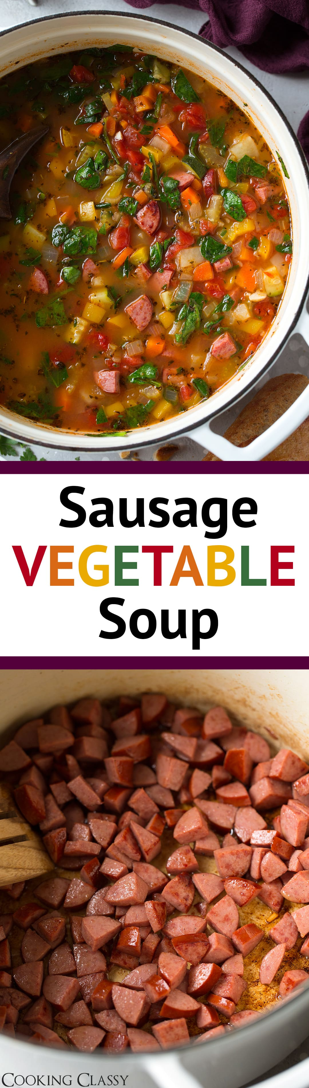Sausage Vegetable Soup - this soup is easy to make and it's jam packed with nutritious veggies. The smoked sausage adds a great flavor and makes this soup that much more hearty. Serve it with some fresh crusty whole grain bread for an ideal winter dinner. #soup #vegetablesoup #sausagesoup #lunch #dinner #healthyrecipe