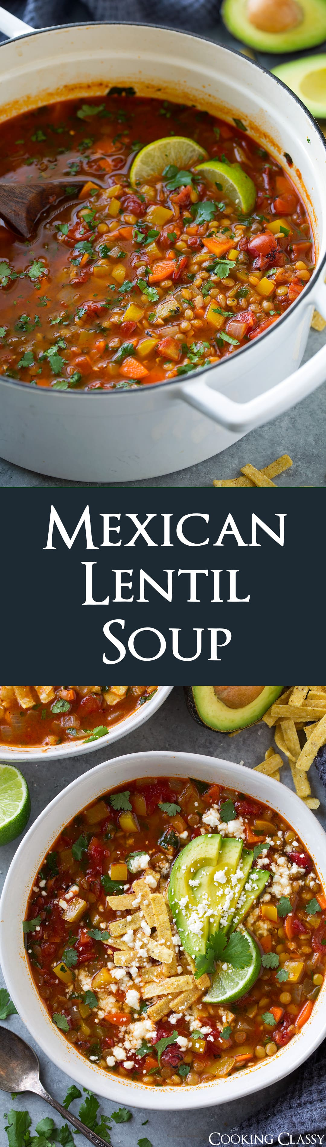 A healthy and hearty vegetarian soup everyone will love! It's packed with nutritious ingredients and all those Mexican flavors will leave you craving more. Leftovers make a delicious lunch the next day too! #soup #mexicanrecipe #lentilsoup #dinner #lunch